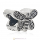 Sparkling Butterfly Charm 925 Sterling Silver Bead