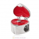 Marry Me Heart Ring Box Charm 925 Sterling Silver with Red Enamel and CZ