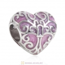 925 Sterling Silver Butterfly Heart Pink Charm Bead