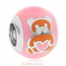 925 Sterling Silver Bear Love Charm Pink Bead
