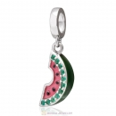 Watermelon Dangle Charm with Green Cubic Zirconia