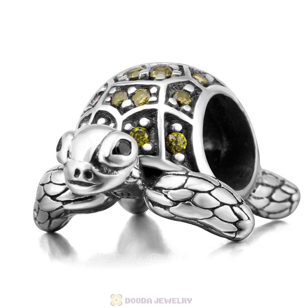 Sea Turtle Charm with Olive Green CZ