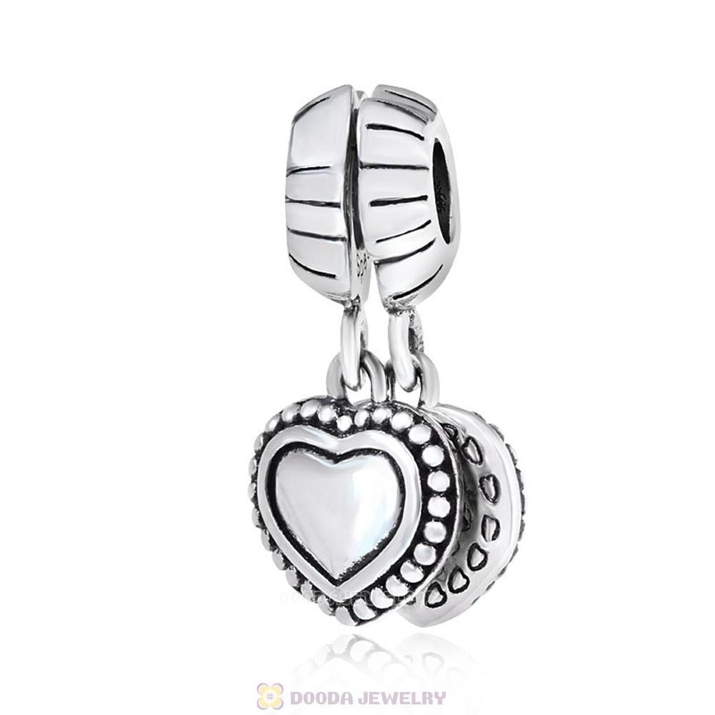 White Heart Clear Murano Glass Dangle Charm for Silver European Bead Bracelets