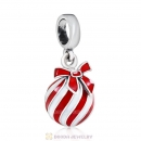 925 Sterling Silver Christmas Ball with Red Enamel Charm