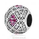 Geometric Charm 925 Sterling Silver with Rose Zircon
