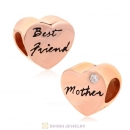 Mother and Best Friend Heart Charms Rose Gold Sterling Silver