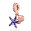 Rose Gold Starfish and Sea Shell Charms with Blue CZ