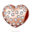 Shimmering Heart Charm Rose Gold 925 Sterling Silver
