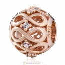 Rose Gold Infinity Shine Charm with White Zirconia