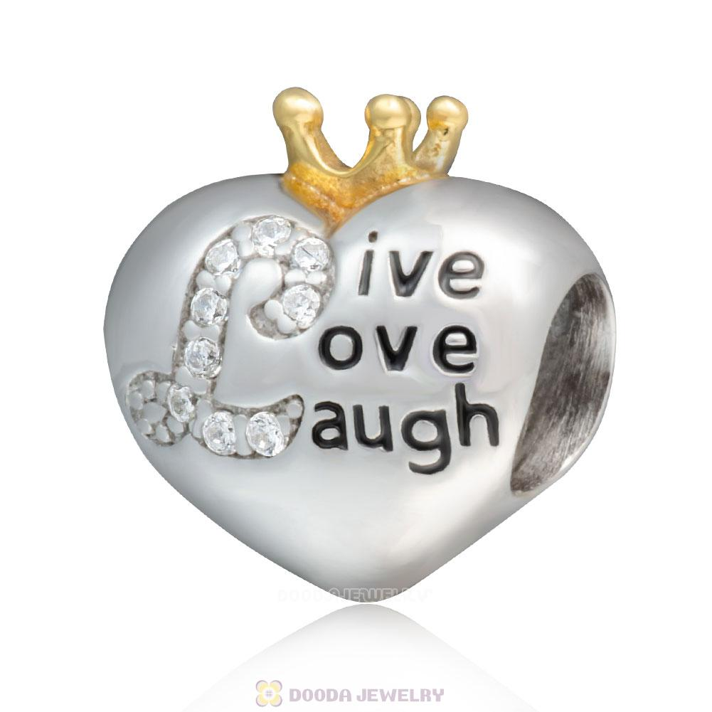 925 Sterling Silver Live Love Laugh Charm