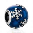 925 Sterling Silver Snowflake with Blue Enamel Charm