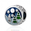 Christmas Snowman Tree Enamel Charm Beads