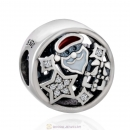 Christmas Santa Gift Enamel and Clear cz Charm Beads