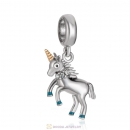 Dangle Unicorn Charms with Blue Enamel and Crystal