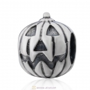 European Sterling Silver Jack-O-Lantern Beads For The Halloween