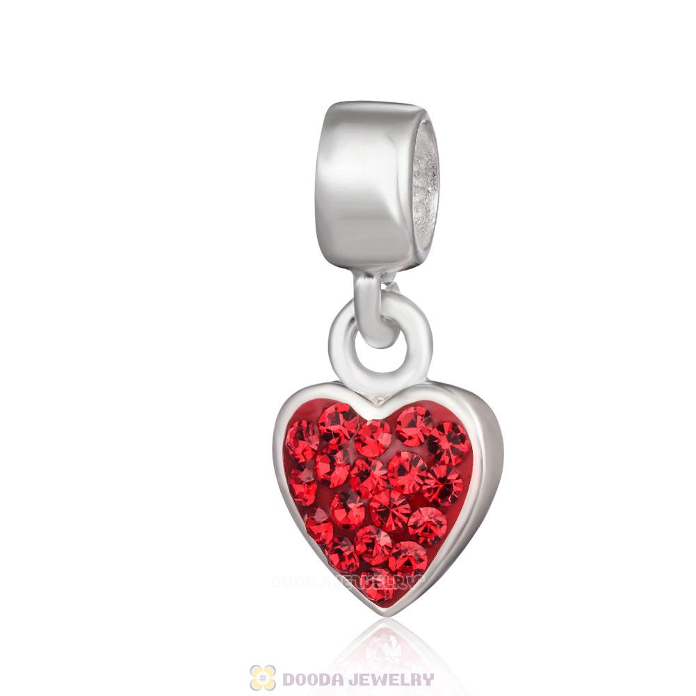 Heart and Red Crystal Bead on 925 Silver Plated Snake Chain Necklace