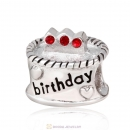 Birthday Cake Charm with Red Austrian Crystal