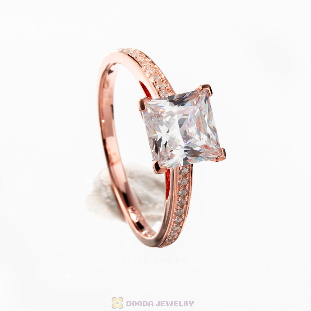 Rose Gold Zircon Geometric Ring