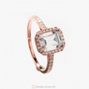 Rose Gold Zircon Rounded Square Geometric Ring