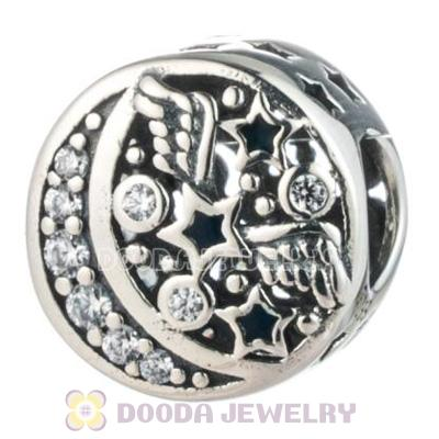 Moon and Stars Charm Bead with Clear CZ