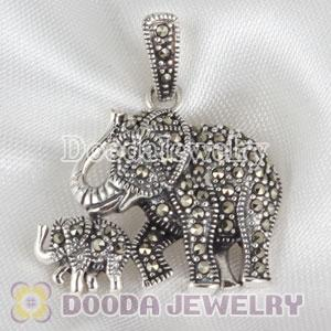 Sterling Silver Genuine Marcasite Elephant