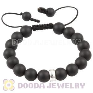 handmade Style Tscharm Jewelry Charm Bracelet Black Agate and Sterling Silver Beads