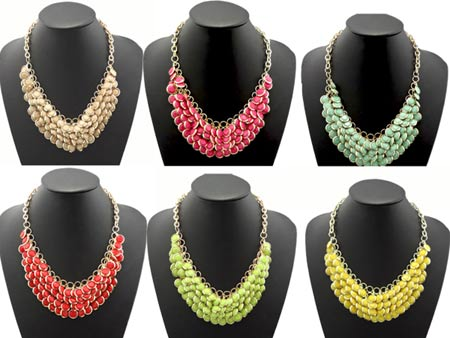Wholesale Chunky Fashion Necklaces Chunky Multi Layers Bubble Bib